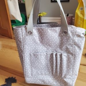 Thirty One Tall Organizing Tote - neutral dots
